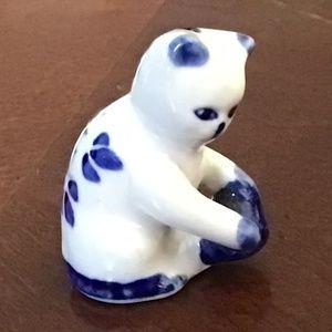 Collectible Mini-Petite Blue/White Kitten w/Ball